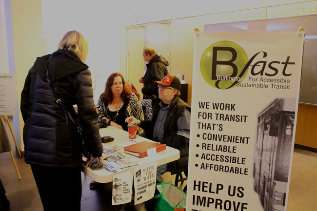 BFAST volunteers answer questions at our display table at the Nov. 14 Inspire Burlington event featuring consultants Brent Toderian and Jarrett Walker.